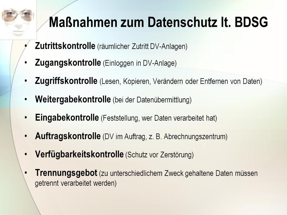 Maßnahmen zum Datenschutz lt. BDSG