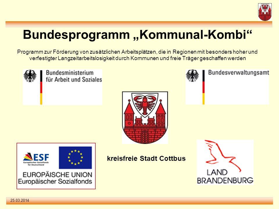 """Bundesprogramm """"Kommunal-Kombi Programm zur Förderung von zusätzlichen Arbeitsplätzen, die in Regionen mit besonders hoher und verfestigter Langzeitarbeitslosigkeit durch Kommunen und freie Träger geschaffen werden"""