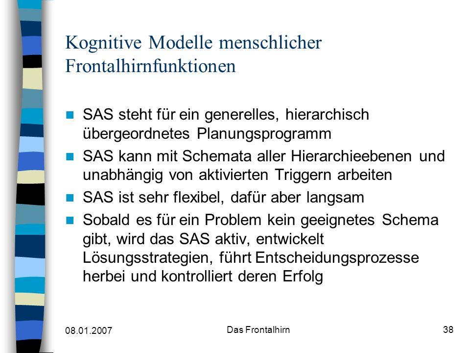 Kognitive Modelle menschlicher Frontalhirnfunktionen
