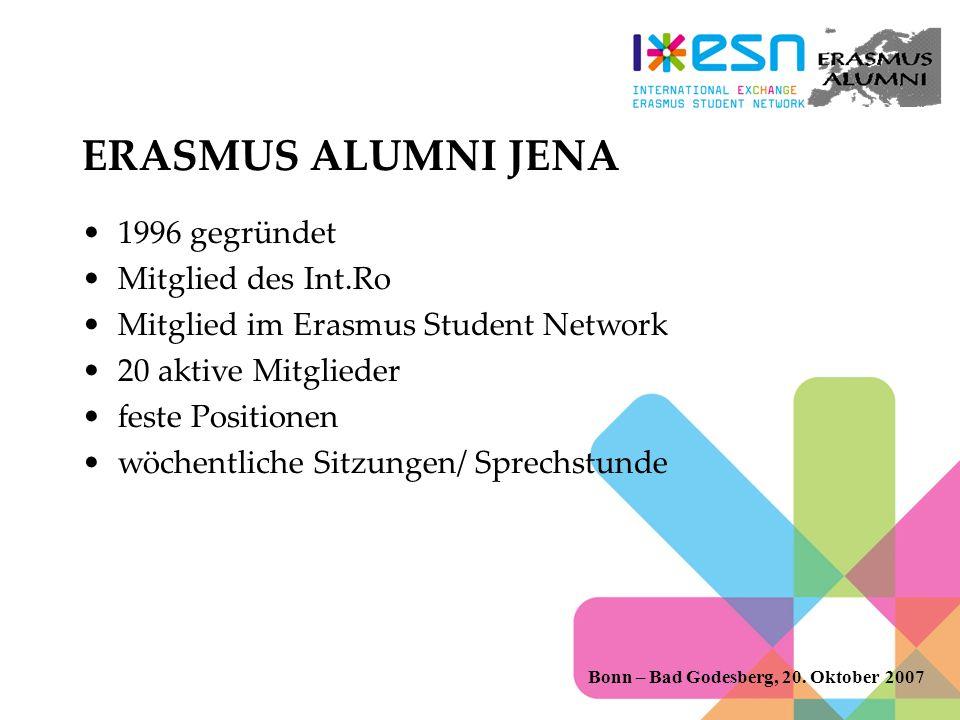 ERASMUS ALUMNI JENA 1996 gegründet Mitglied des Int.Ro