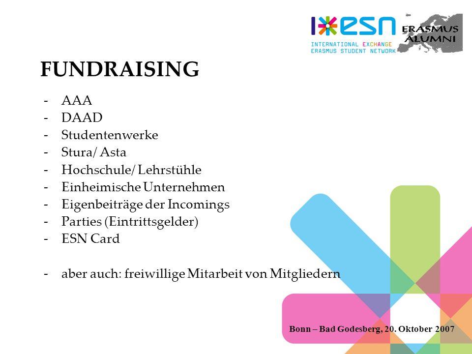 FUNDRAISING AAA DAAD Studentenwerke Stura/ Asta Hochschule/ Lehrstühle