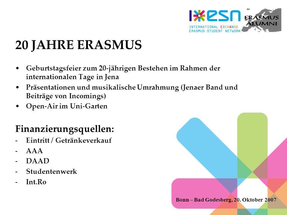 20 JAHRE ERASMUS Finanzierungsquellen: