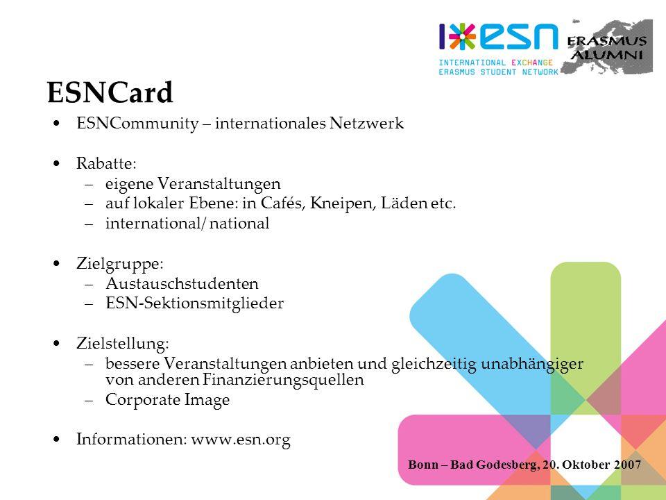 ESNCard ESNCommunity – internationales Netzwerk Rabatte: