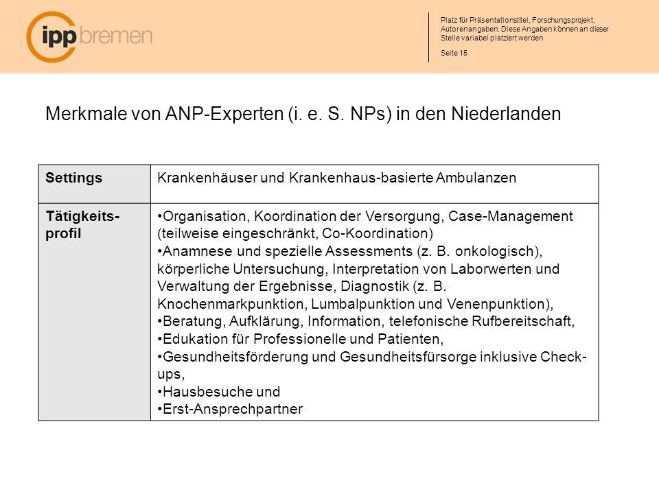 Merkmale von ANP-Experten (i. e. S. NPs) in den Niederlanden