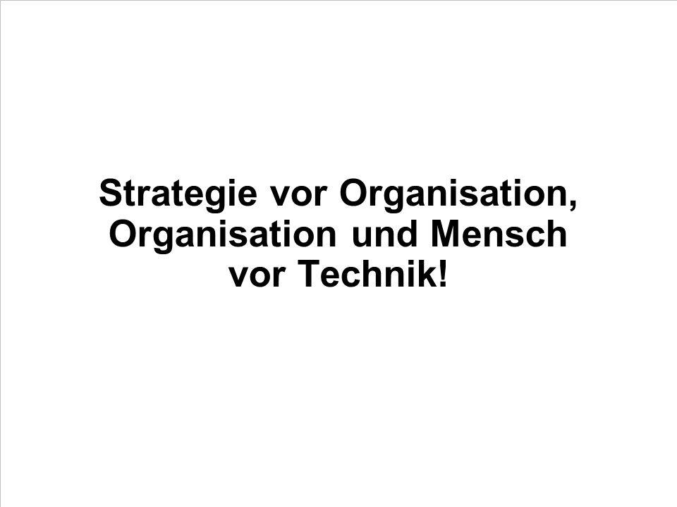 Strategie vor Organisation, Organisation und Mensch vor Technik!