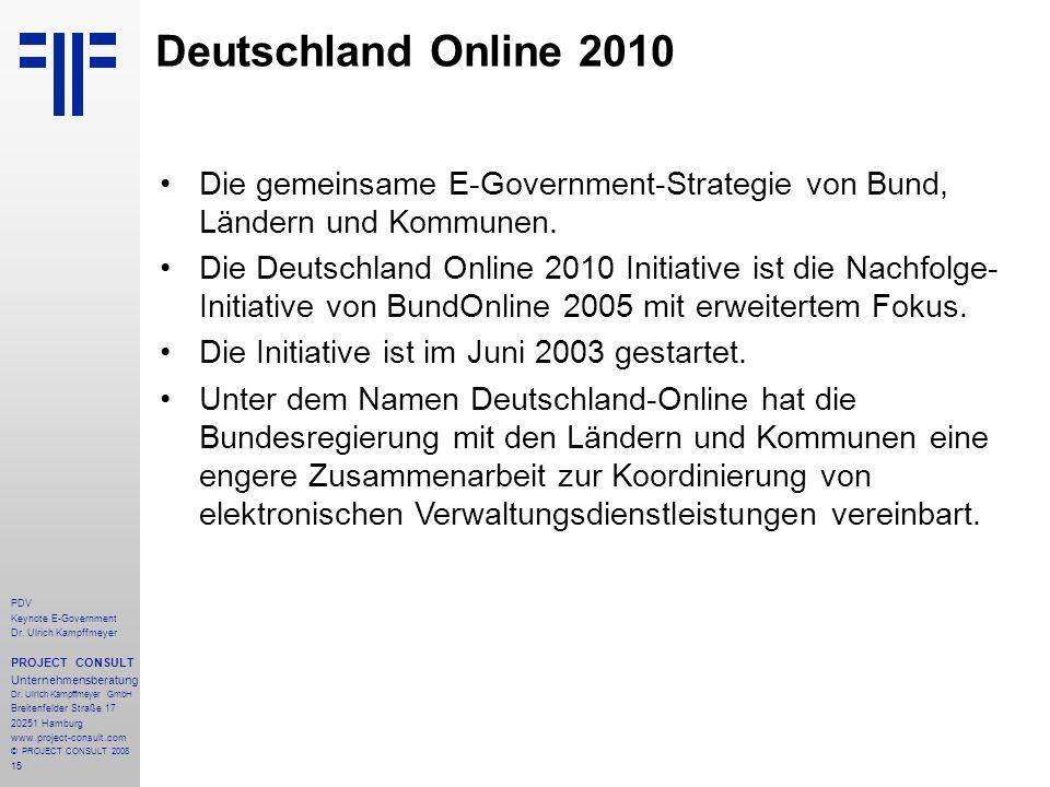 Deutschland Online 2010Die gemeinsame E-Government-Strategie von Bund, Ländern und Kommunen.