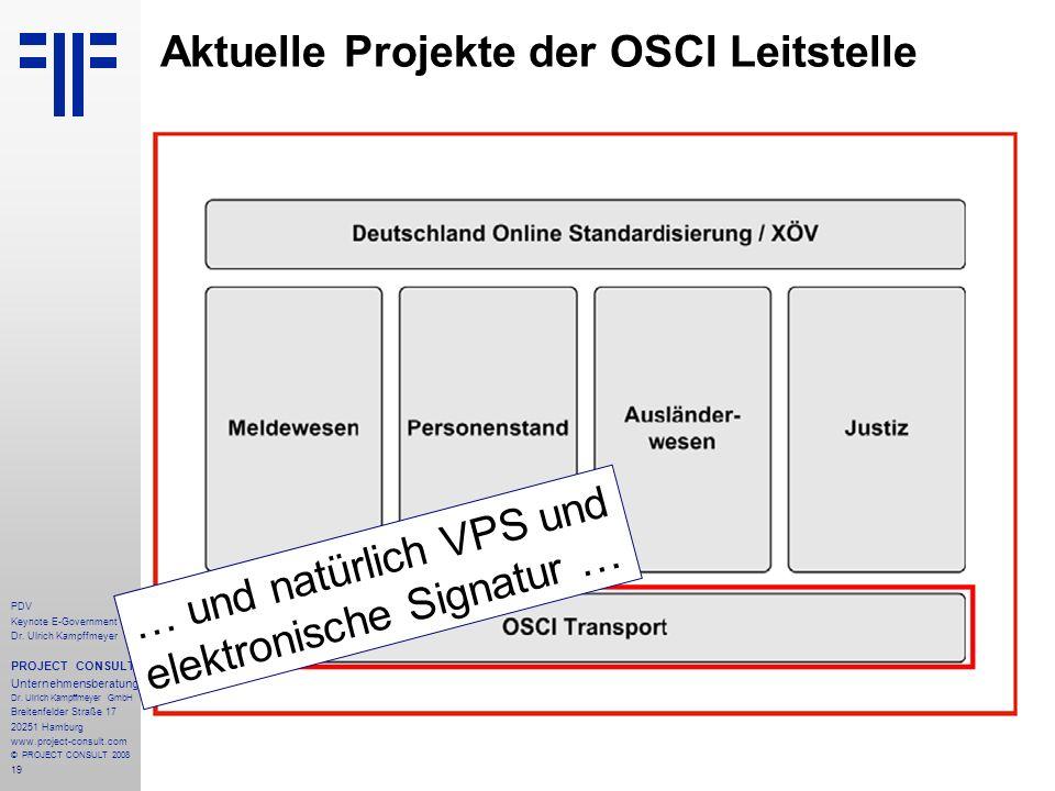 Aktuelle Projekte der OSCI Leitstelle