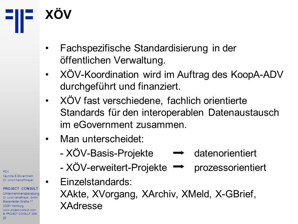 XÖV Fachspezifische Standardisierung in der öffentlichen Verwaltung.