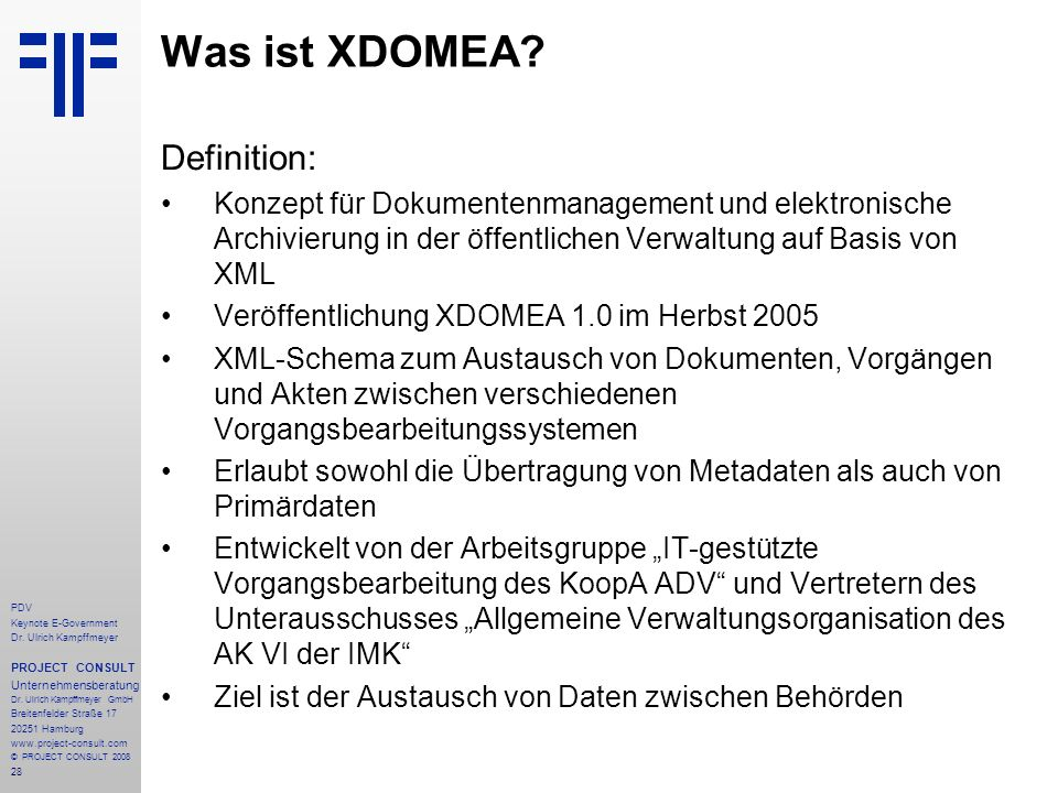 Was ist XDOMEA Definition: