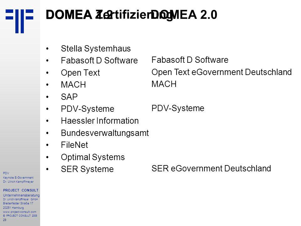 DOMEA Zertifizierung DOMEA 1.2 DOMEA 2.0 Stella Systemhaus