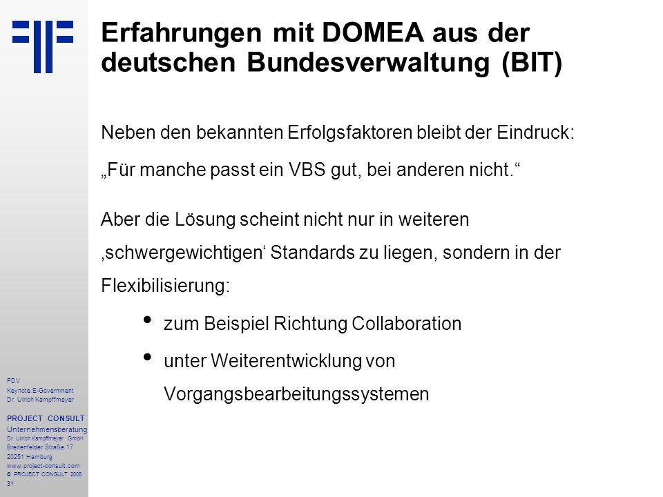 Erfahrungen mit DOMEA aus der deutschen Bundesverwaltung (BIT)