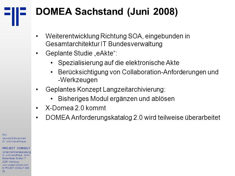DOMEA Sachstand (Juni 2008)