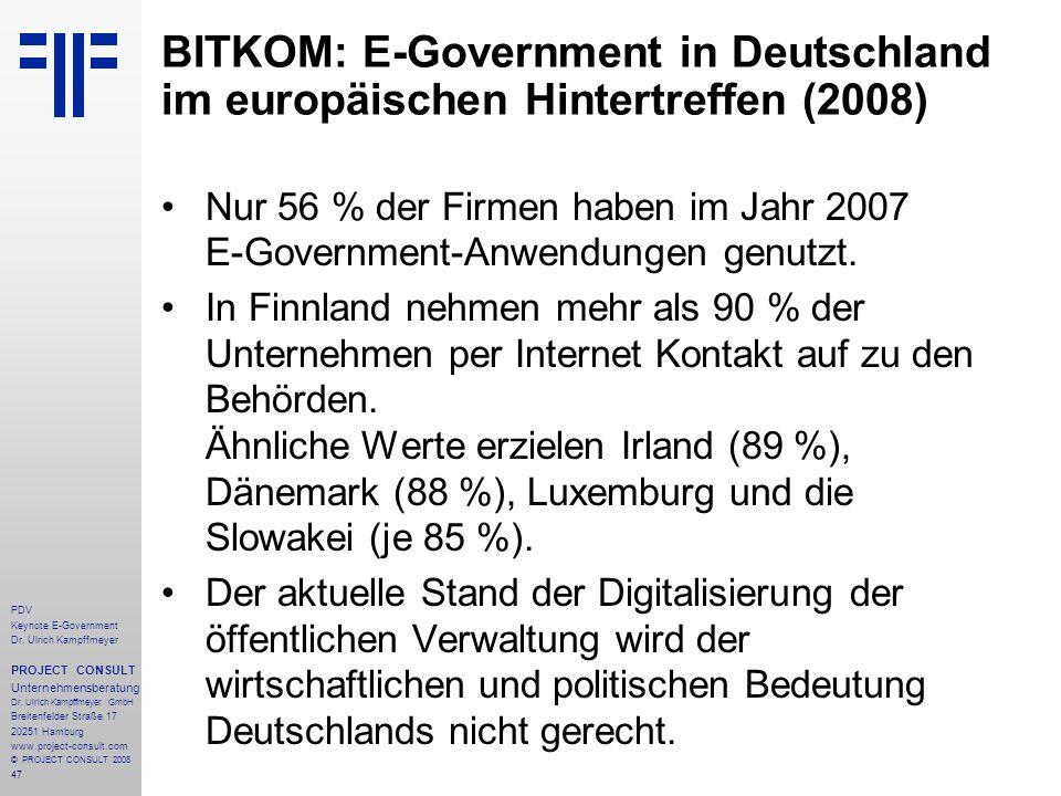 BITKOM: E-Government in Deutschland im europäischen Hintertreffen (2008)