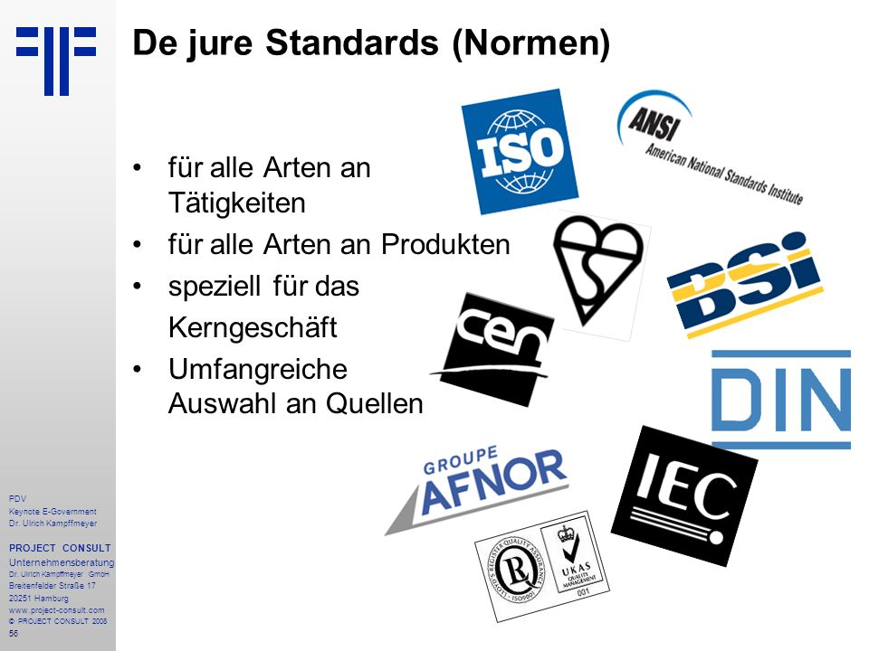 De jure Standards (Normen)