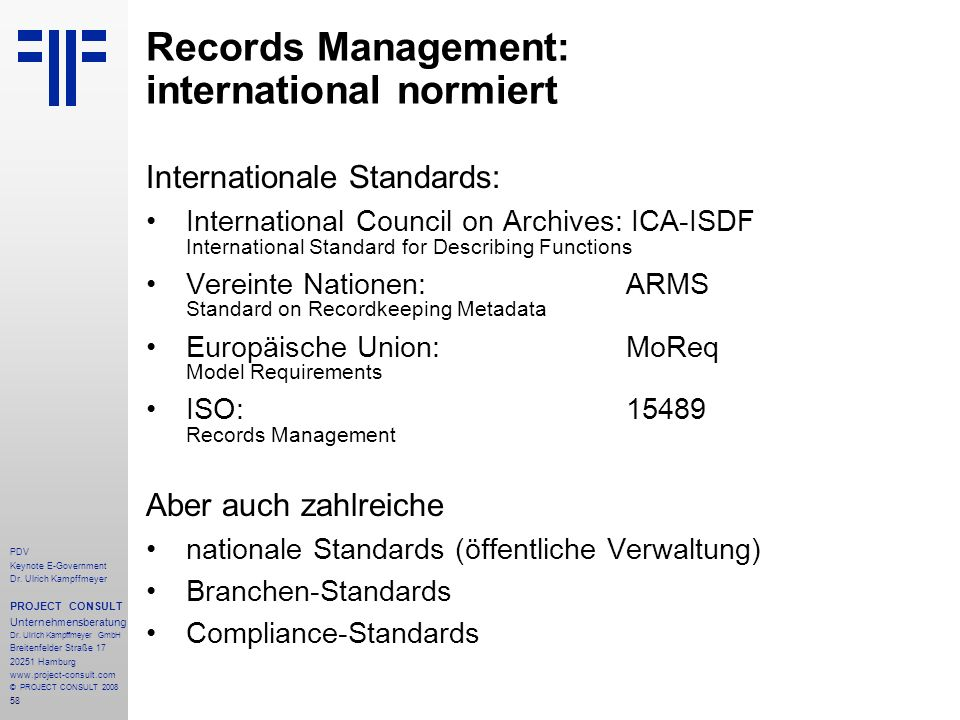 Records Management: international normiert