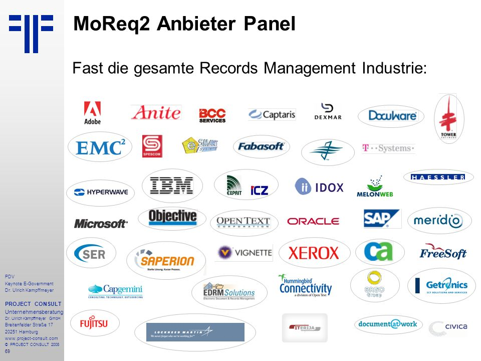 Fast die gesamte Records Management Industrie: