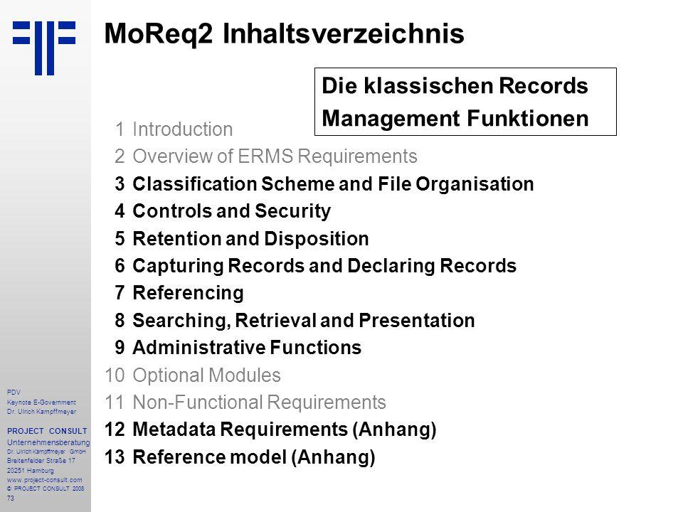 MoReq2 Inhaltsverzeichnis
