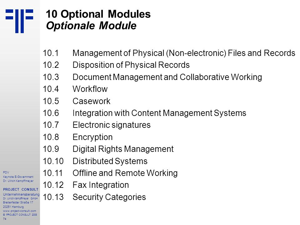 10 Optional Modules Optionale Module