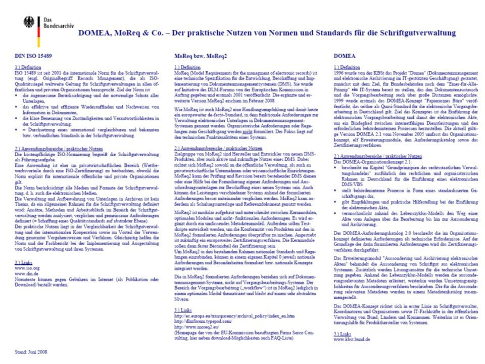 MoReq2 & DOMEA PROJECT CONSULT Unternehmensberatung PDV