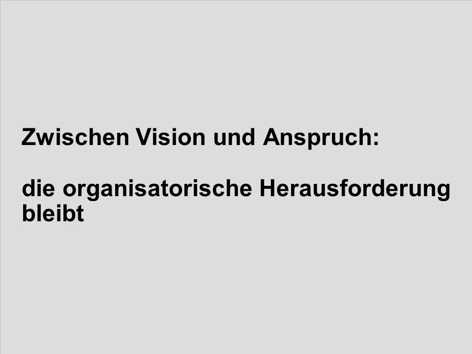 Zwischen Vision und Anspruch: die organisatorische Herausforderung bleibt