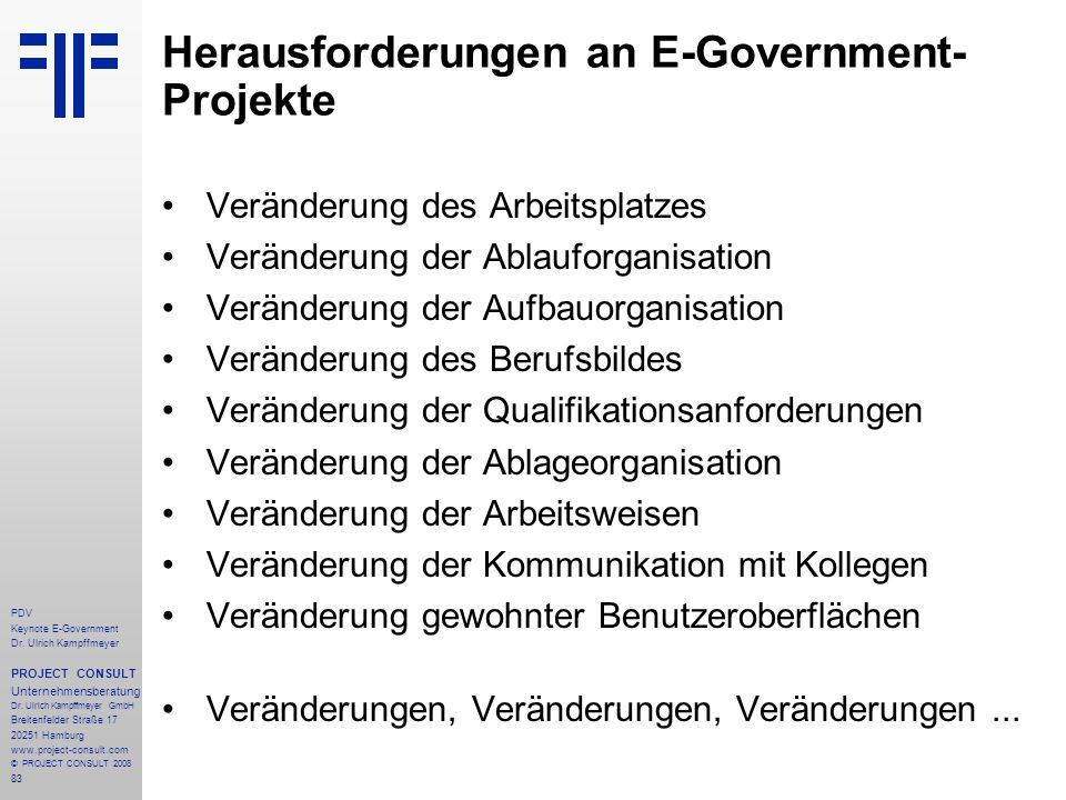 Herausforderungen an E-Government-Projekte
