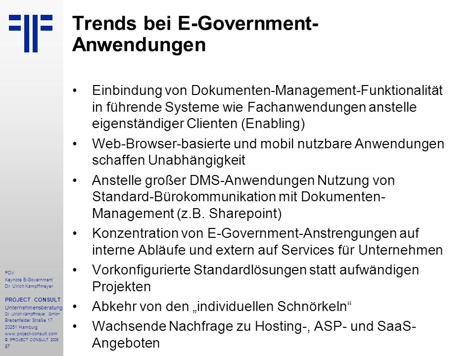 Trends bei E-Government-Anwendungen