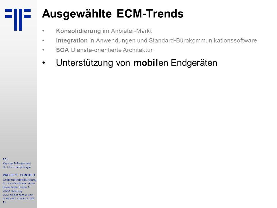 Ausgewählte ECM-Trends
