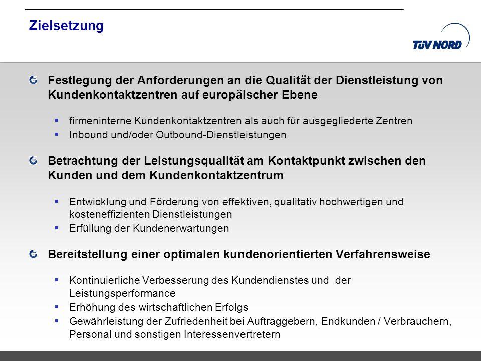 Zielsetzung Festlegung der Anforderungen an die Qualität der Dienstleistung von Kundenkontaktzentren auf europäischer Ebene.