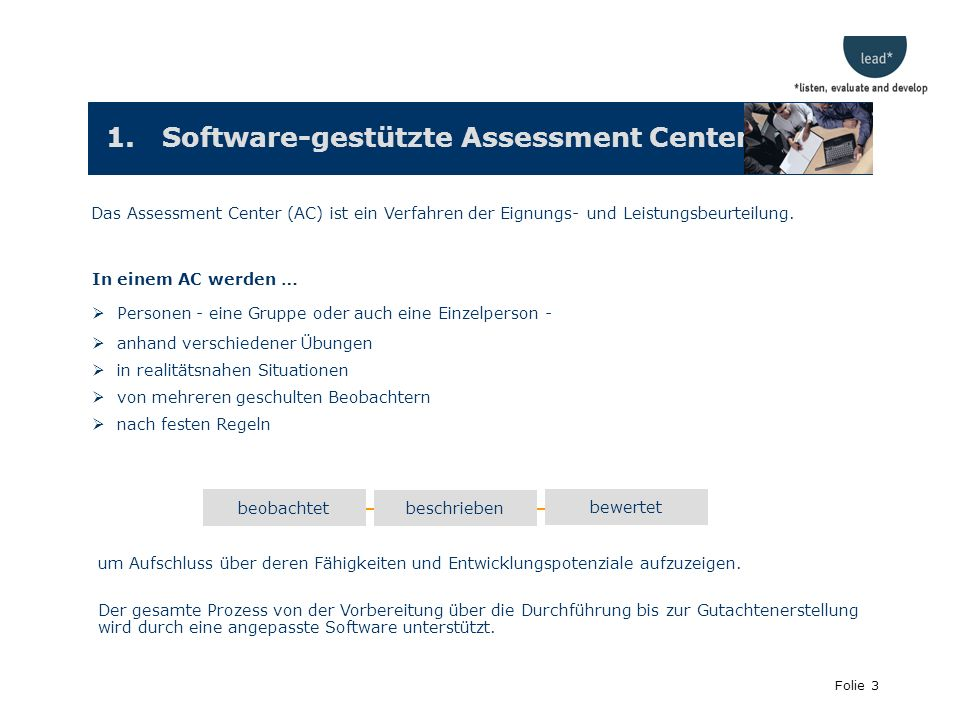 1. Software-gestützte Assessment Center