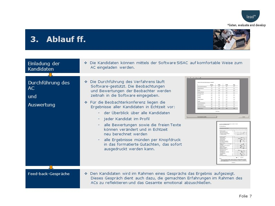 3. Ablauf ff. Einladung der Kandidaten Durchführung des AC und
