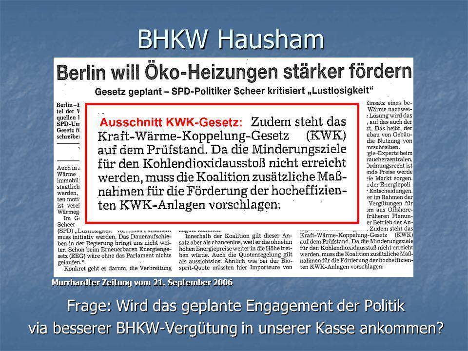 BHKW Hausham Frage: Wird das geplante Engagement der Politik