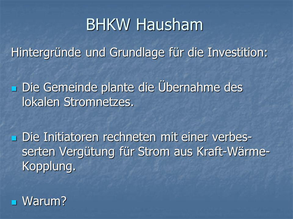 BHKW Hausham Hintergründe und Grundlage für die Investition: