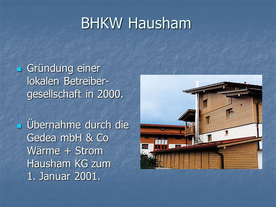 BHKW Hausham Gründung einer lokalen Betreiber-gesellschaft in 2000.