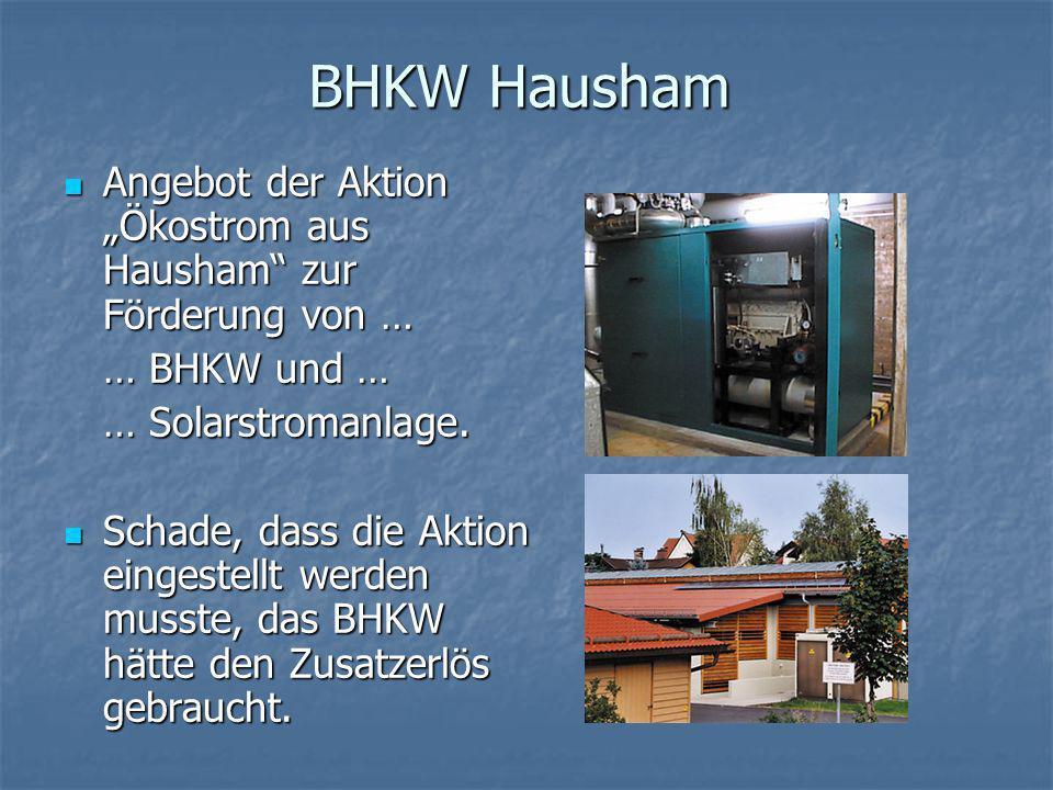 """BHKW Hausham Angebot der Aktion """"Ökostrom aus Hausham zur Förderung von … … BHKW und … … Solarstromanlage."""