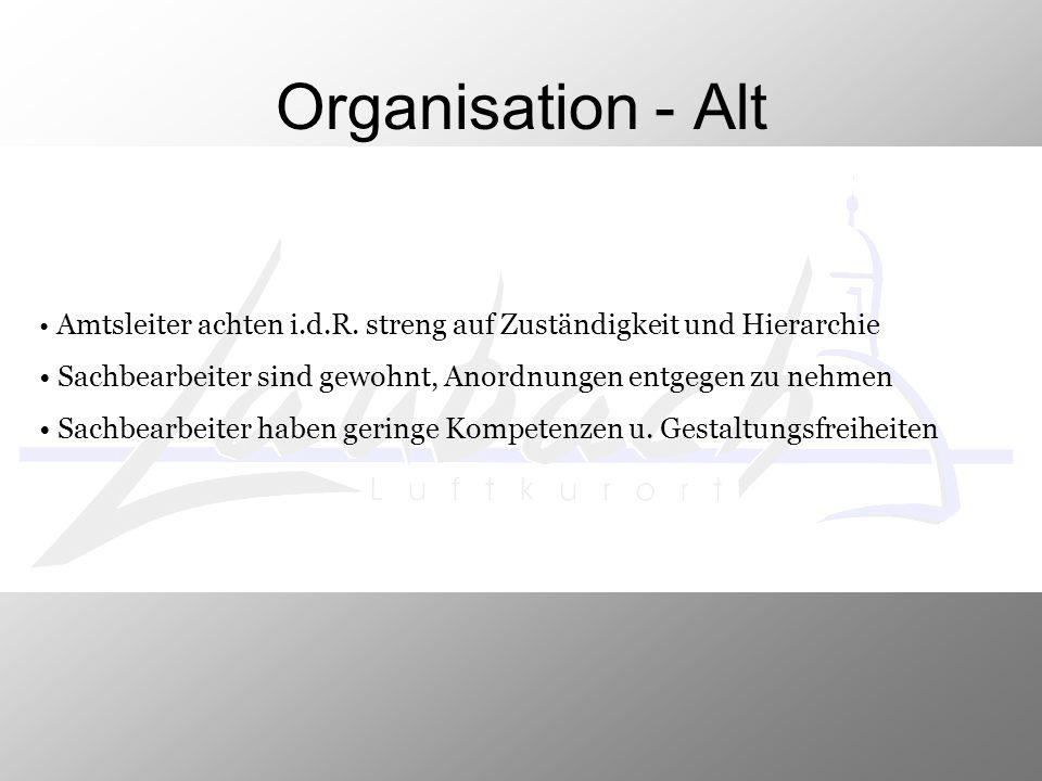 Organisation - Alt Amtsleiter achten i.d.R. streng auf Zuständigkeit und Hierarchie. Sachbearbeiter sind gewohnt, Anordnungen entgegen zu nehmen.