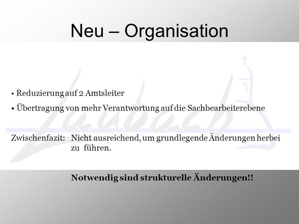 Neu – Organisation Reduzierung auf 2 Amtsleiter. Übertragung von mehr Verantwortung auf die Sachbearbeiterebene.