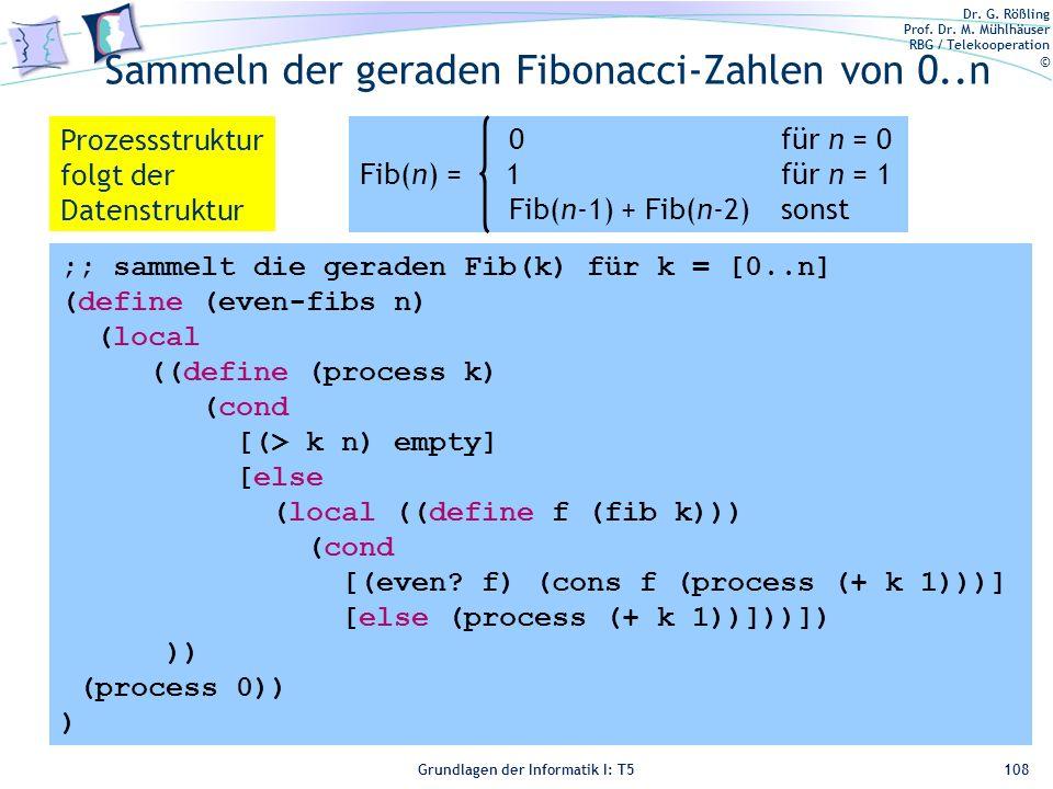 Sammeln der geraden Fibonacci-Zahlen von 0..n