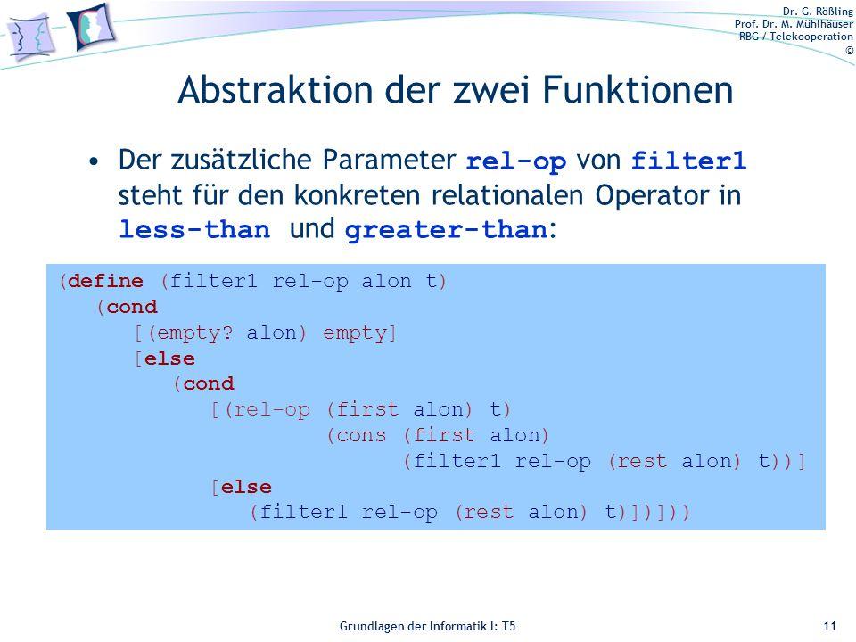 Abstraktion der zwei Funktionen