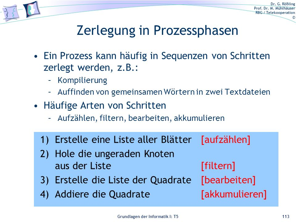 Zerlegung in Prozessphasen