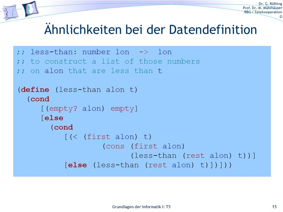 Ähnlichkeiten bei der Datendefinition