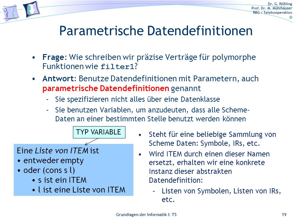 Parametrische Datendefinitionen