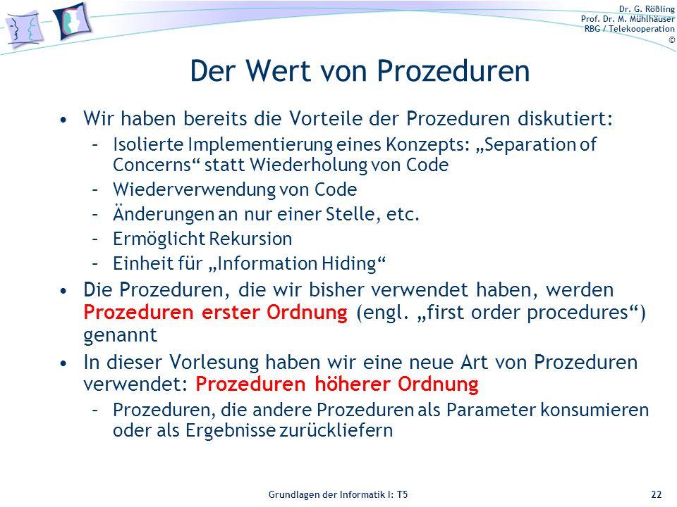 Der Wert von Prozeduren