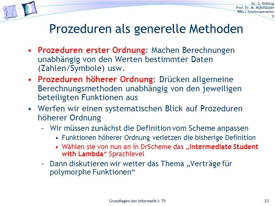 Prozeduren als generelle Methoden