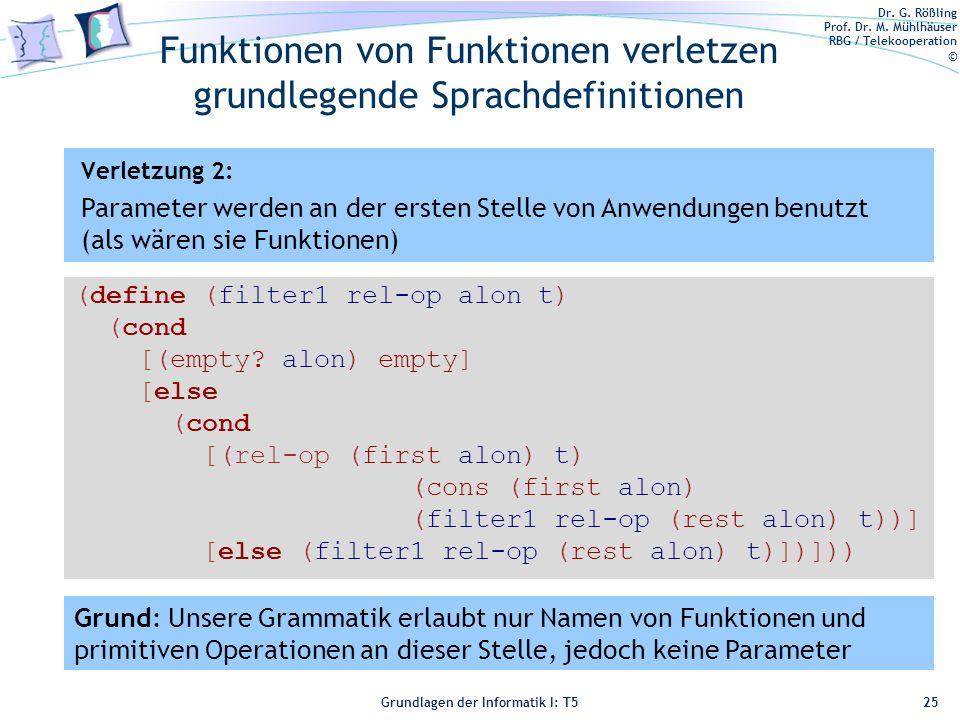 Funktionen von Funktionen verletzen grundlegende Sprachdefinitionen