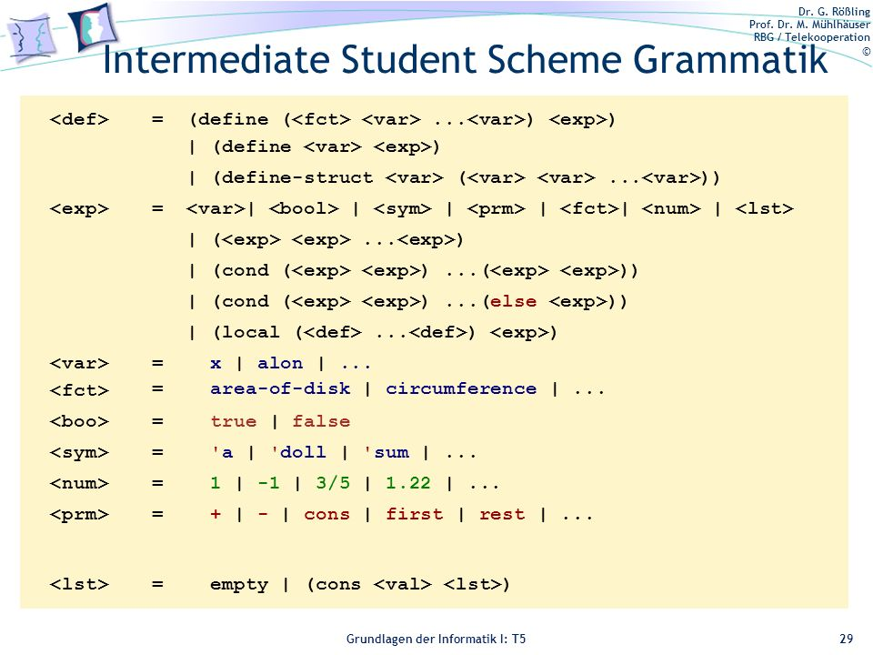 Intermediate Student Scheme Grammatik