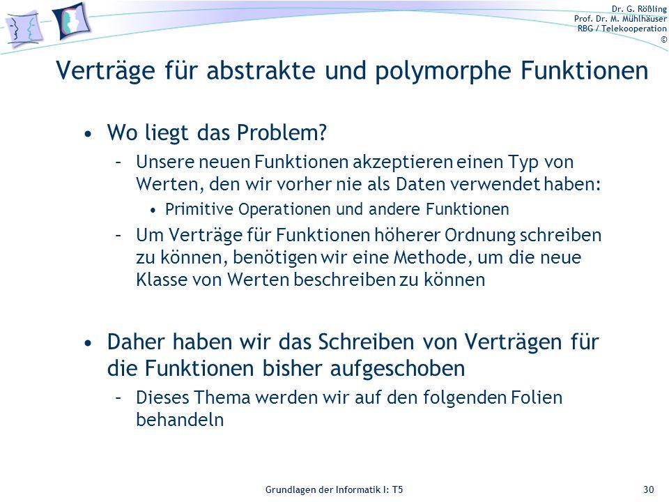 Verträge für abstrakte und polymorphe Funktionen
