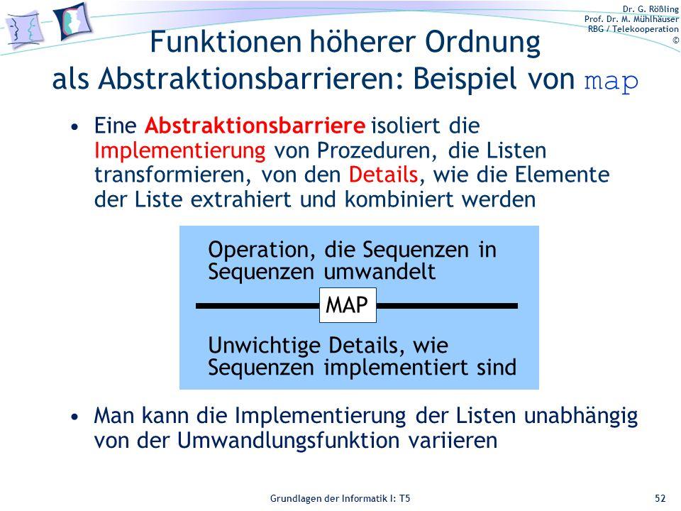 Funktionen höherer Ordnung als Abstraktionsbarrieren: Beispiel von map