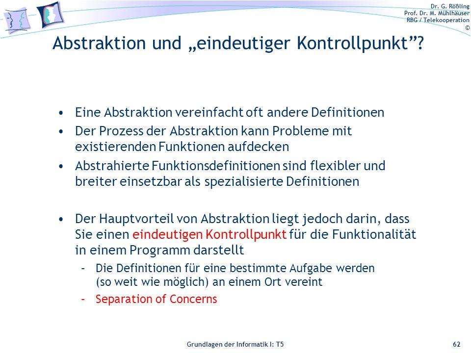 """Abstraktion und """"eindeutiger Kontrollpunkt"""