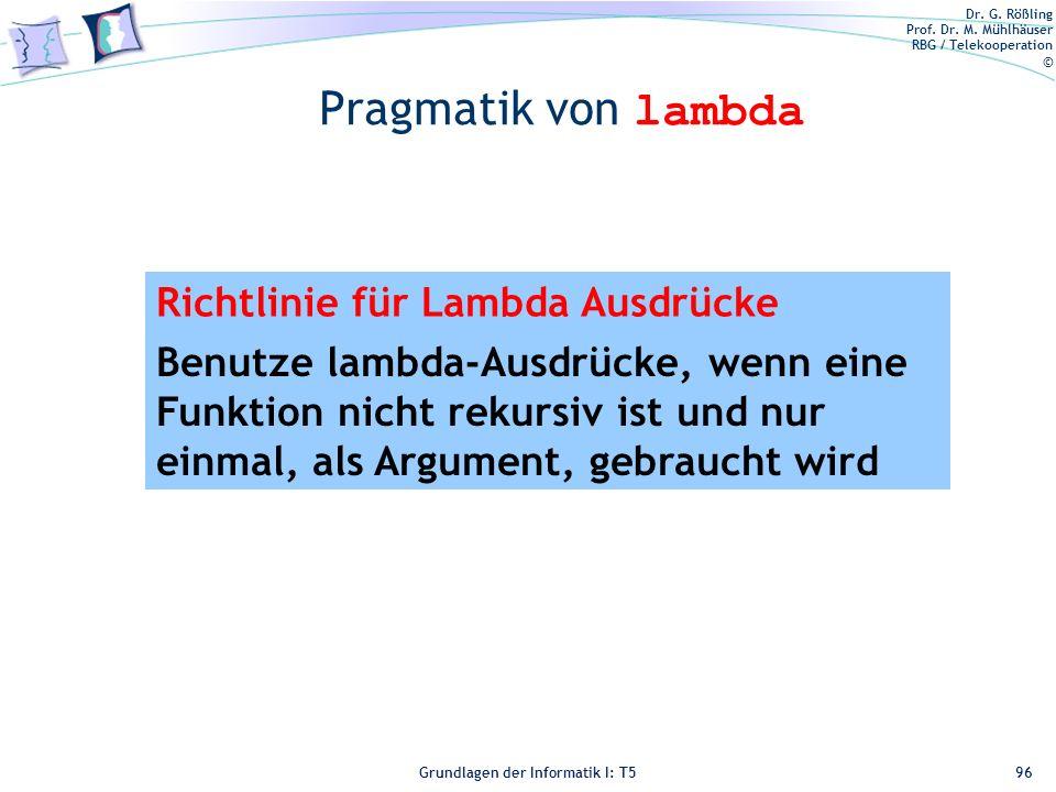 Pragmatik von lambda Richtlinie für Lambda Ausdrücke