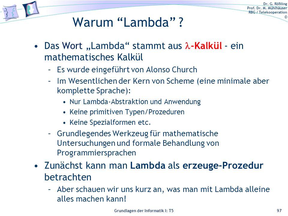 """Warum Lambda Das Wort """"Lambda stammt aus -Kalkül - ein mathematisches Kalkül. Es wurde eingeführt von Alonso Church."""